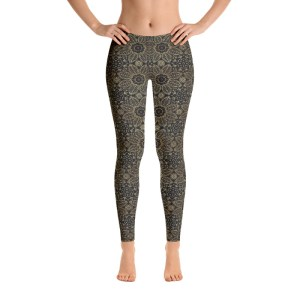 Black Floral Mandala Yoga Leggings
