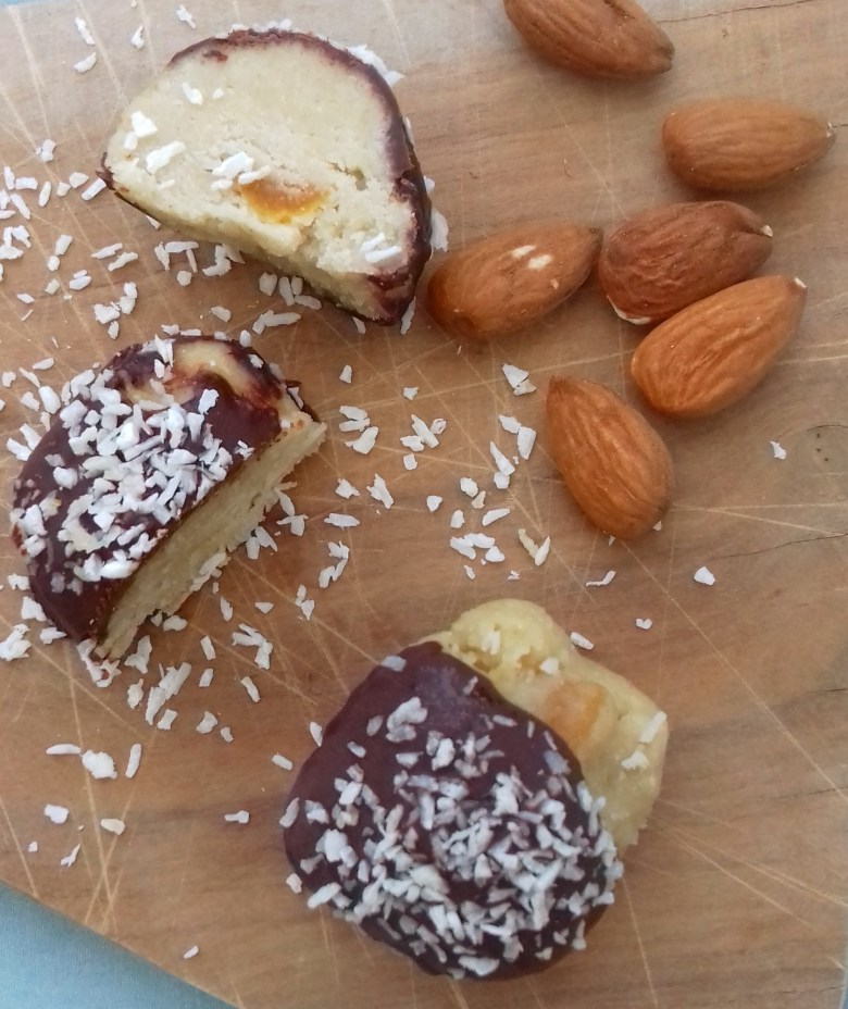 Picutured: vegan and sugar free marzipan bites made using almonds and coconut