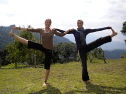 earth lodge balance partner pose