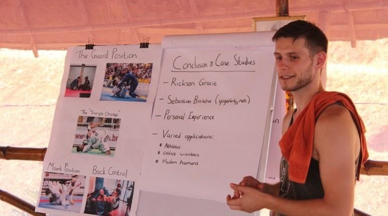 Yoga Internship student giving a presentation
