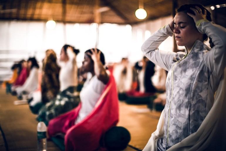 Yoga Students Practicing Pranayama