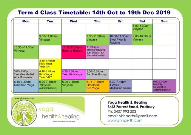 Timetable Term 4 2019