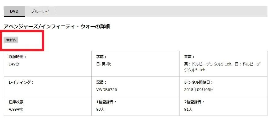 TSUTAYAでの「アベンジャーズ インフィニティウォー」DVDレンタル情報