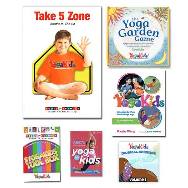 YogaKids Tools for Schools Starter Bundle Ages 3 to 6-poster, 2 dvds, Yoga Garden Game, YK Book, Pose Card ToolBox, Musical Musings mp3s
