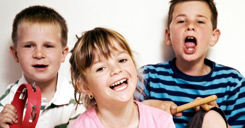 Three Children Laughing and Singing