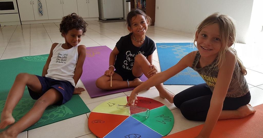 Kids playing Spinning Senses game