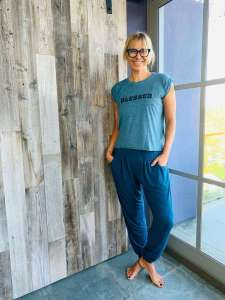 YogaLeggs Teal Harem Pants & Blessed Top