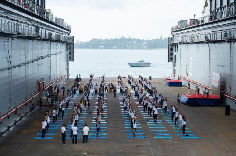 Indian Navy doing yoga