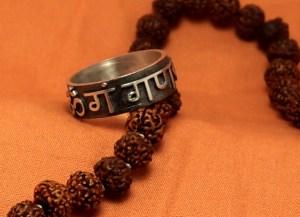 Om Gam Ganapataye Namaha mantra  silver ring