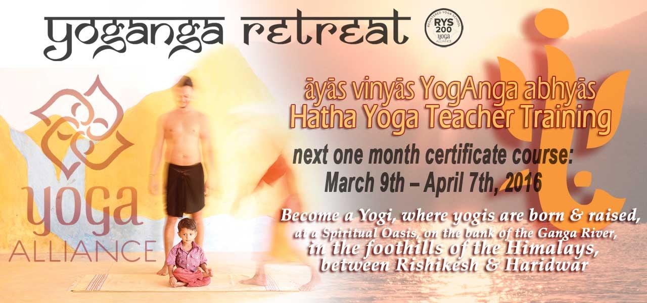 one month Yoga Alliance 200 hour Teacher Training