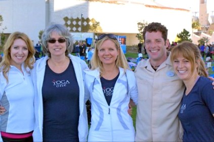 Robin Doten, Laurie Gartrell, Karen Valentino, Sarah Luther, Paul Langelier III at Yoga for Hope San Diego Harbor- Embarcadero