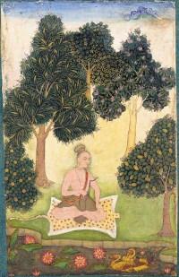 A_yogi_seated_in_a_garden