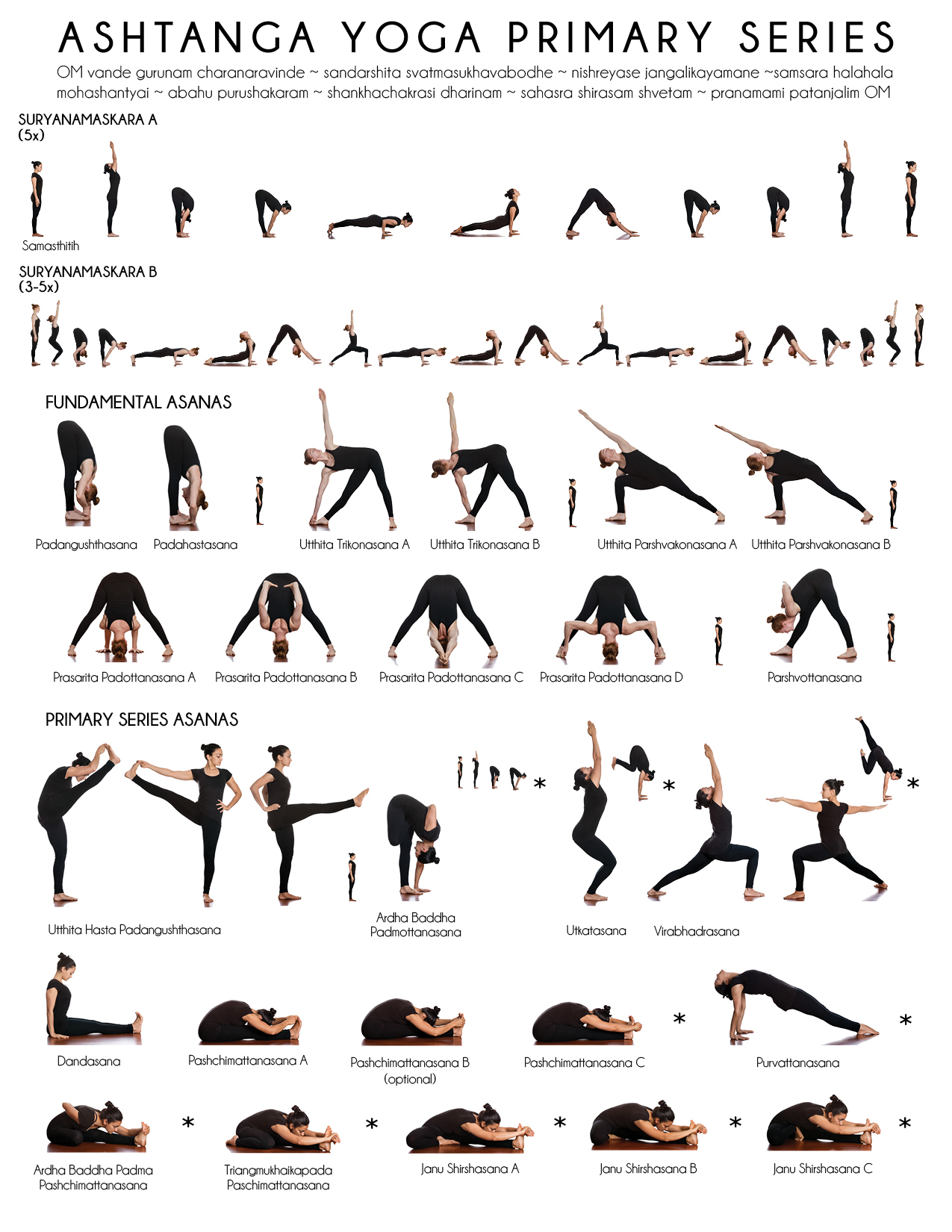 Primary Series Practice Sheet - Yoga Shala West