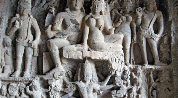 Shiva & Parvati crushing demon Ravana