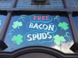 Free pork and potato products at local Irish pub, the Painters Arms.