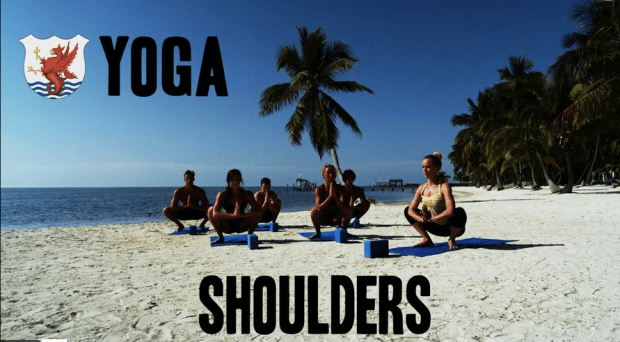 Screengrab taken from The Race Club video, Yoga for Shoulders