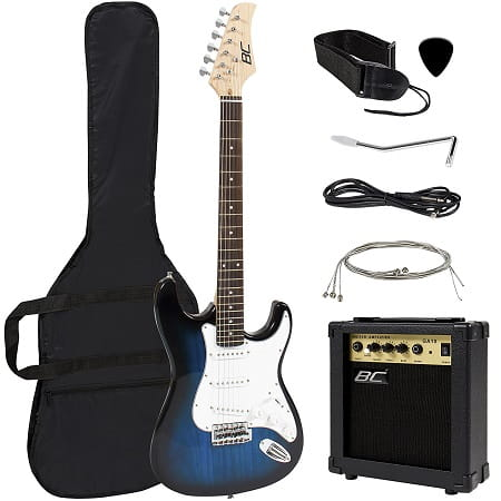 Best Choice Full Size Blue Electric Guitar Beginner Starter Package