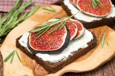 Dark Rye Bread with goat cheese, fresh figs, honey and rosemary