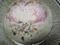 roasted garlic sourdough bun with edible flowers