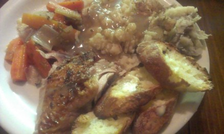 roasted chicken dinner with gravy