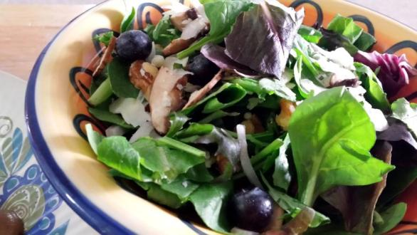 baby greens salad with blueberries, walnuts and shaved parmesan