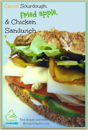 Carrot Sourdough Bread, Mozzarella Cheese, Roasted Chicken Breast and Deep Fried Apple Sandwich