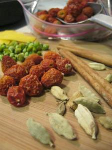 cardamom, cinnamon, ginger, lemon zest, caraway seeds, pineapple weed and rose hips for tea
