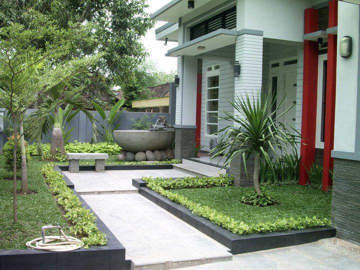 Tampak penerapan konsep taman minimalis di depan teras rumah, foto: rumahunik.com