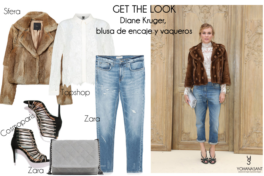 Diane Kruger con blusa de encaje y vaqueros