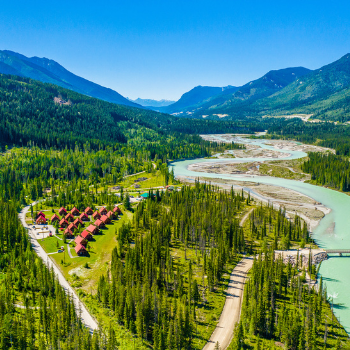aerial overview of chalets with kicking horse river