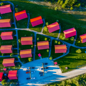 aerial shot of chalets