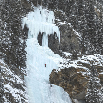 frozen waterfall at lake louise