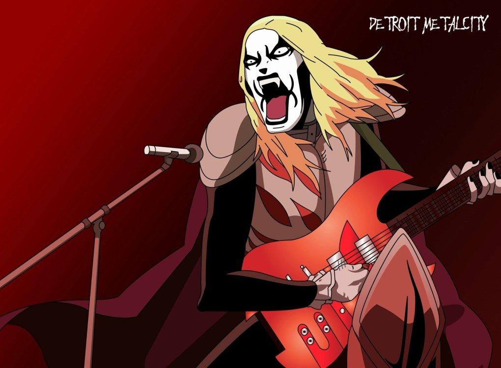 Rockeiro loiro gritando em microfone enquanto toca guitarra