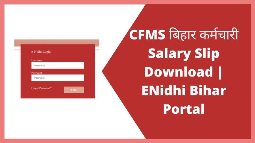 CFMS बिहार कर्मचारी Salary Slip Download | ENidhi Bihar Portal