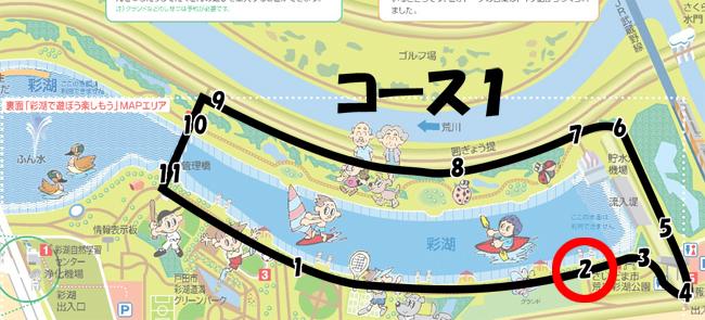 彩湖周回コース1-2