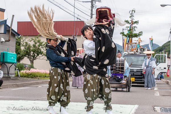平成30年 美国町 美国神社 例大祭 2日目 子供 神楽 松前神楽 獅子舞