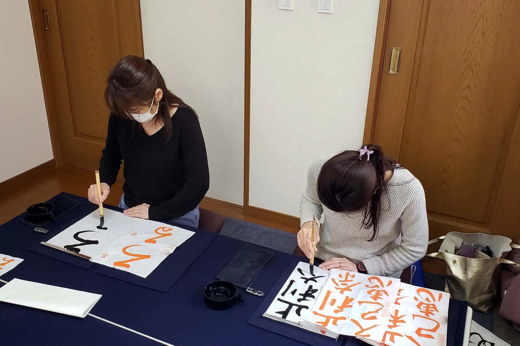 2020年2月下旬のレッスンの様子/鎌倉市長谷の書道教室