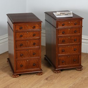 Pair of Antique Victorian Oak Bedside Chests / Cabinets (Circa 1850)