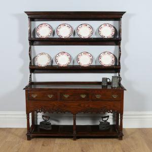 Antique Georgian Style Welsh Oak Joined High Potboard Dresser Base & Rack (Circa 1870)