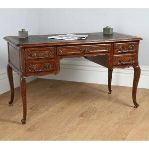 Antique French Oak & Leather Freestanding Desk (Circa 1890)