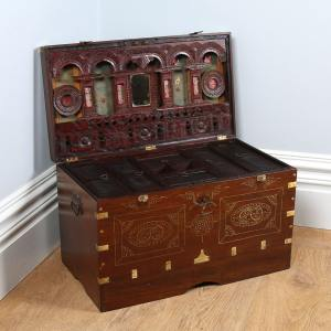 Antique Victorian Burmese Colonial Teak & Brass Chiming Mandalay Box (Circa 1860)