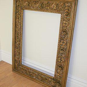 Large Antique Style Carved Ornate Vintage Gilt Wood Mirror Frame (4ft x 5ft)