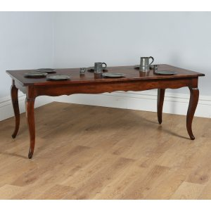 """Antique French 6ft 6⅜"""" Cherry Wood Refectory Table With Breadboard & Drawer"""