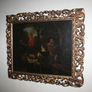 Antique Dutch Tavern Scene Oil Painting (19th Century)