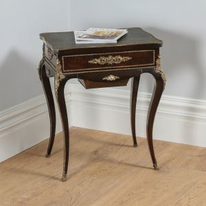 Antique French Louis XVI Revival Mahogany Leather & Brass Ormolu Writing Table by Alphonse Tahan (Circa 1870) - yolagray.com