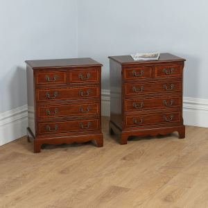 Pair of Georgian Style Mahogany Inlaid Bachelors Bedside Chests (Circa 1950) - yolagray.com