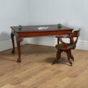 Antique English Georgian Chippendale Style 5ft Mahogany & Leather Library Table (Circa 1880) - yolagray.com