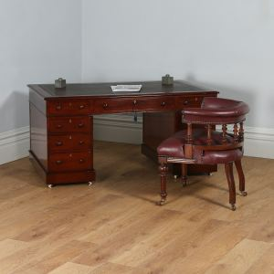 Antique English Victorian Mahogany & Leather Partners Pedestal Desk (Circa 1860) - yolagray.com