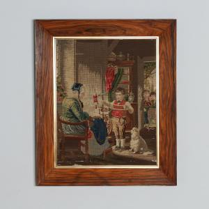 Antique French Needlework Petit Point Wool Tapestry Wall Handing Picture In Rosewood Frame (Circa 1870)- yolagray.com