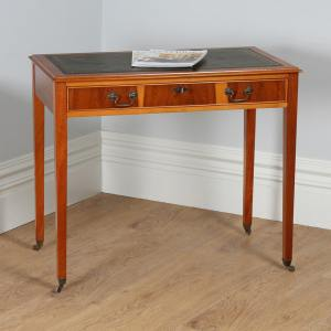 Georgian Style Cherry Wood 3ft Green Leather Writing Table by Avonex (C. Late 20th Century) - yolagray.com